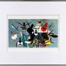 Charley Harper, Winter, Bird Feeder, White Matted Litho Bird Print, 22276