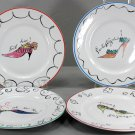 """Fancy Shoe Plates, Rosanna, Set of 4, Made in Italy, 8"""" Round, 23531"""