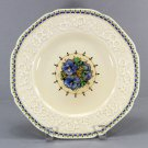 "Crown Ducal Blue Pansy Vintage 9"" Embossed Rim Plate, Gainsborough, England, 23533"