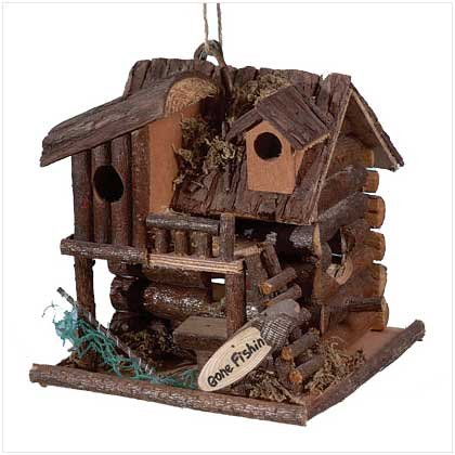 "2931300: WOOD ""GONE FISHING"" CABIN BIRDHOUSE-For Your Feathered Friends"