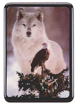 2839700: Wolf and Eagle Wall Clock