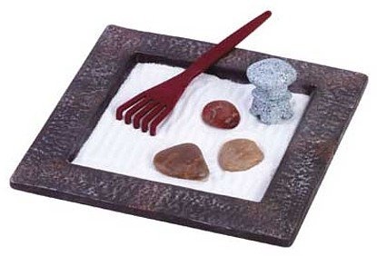 3463800: Tabletop Zen Pagoda and Rake Garden Set - Calming, Tranquility at Your Fingertips