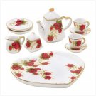 3820900: Miniature Heart Shaped Red Rosebud Tea Set