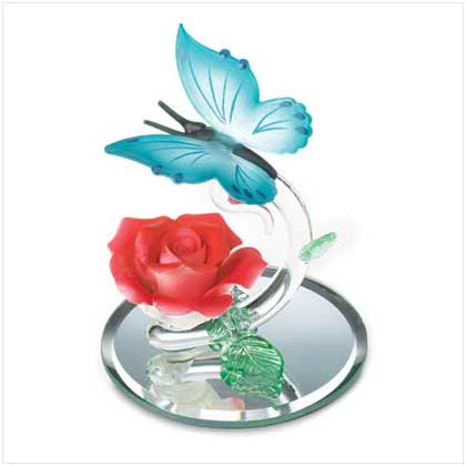 3636100: Blue Glass Butterfly over Red Rose Figurine