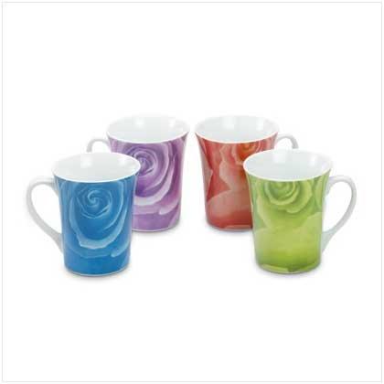 3708600: Unique Muli-Colored Rose Design Mugs - 4 piece set