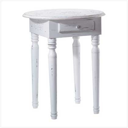 3158500: SALE: Distressed White Wood Side Table with Drawer