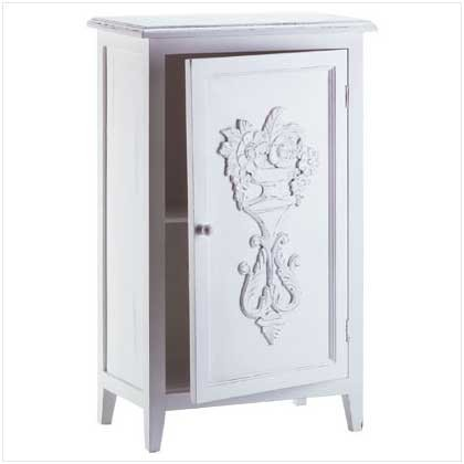 3366400: SALE: Distressed White Finish Wood Cabinet with Shelf and Carved Design