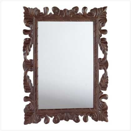 Elaborately Carved Leaves Wood Wall Mirror