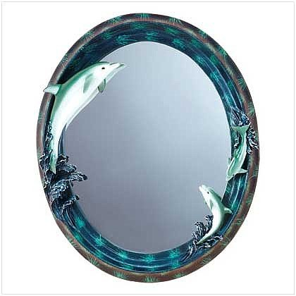 3216400: Dolphin Theme Oval Wall Mirror