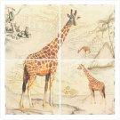 3747200: Giraffe Lacquer Mural - African Theme Decor