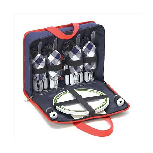 3807700: Picnic Set with Tote Bag Holder-Includes 28 pc. Dish/Utensil Set