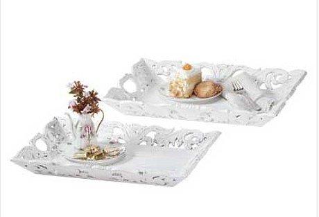 3313200:  Shabby Elegance White Carved Wood Serving Trays - 2 pc Set