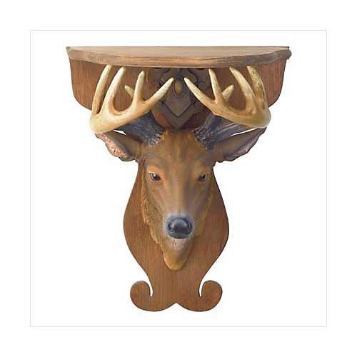 3797500: Deer Head Wall Shelf - Rustic Home Decor