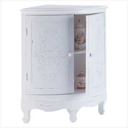 3231000: SALE: Distressed White Corner Cabinet: Low Shipping Charges