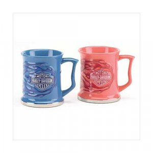 3784900: SALE-Harley Davidson Duo Flame Blue and Pink Mugs-2 pc. Set