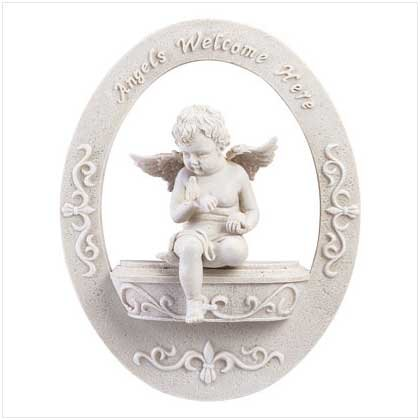 """3487700 """"Angels Welcome Here"""" Cherub Wall Plaque"""