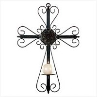 3115300: Metal Cross Wall Candle Holder - Religious Decor