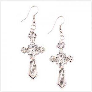 3951600: Silvery Tone Cross Earrings
