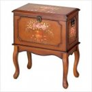 3904000 SALE: Victorian Hand Painted Floral Wood Cabinet - Standing Hope Chest