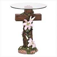 3941000: Inspirational Cross Glass Top Table - Religious Decor