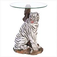 3958700: White Tiger Glass-Top Accent Table