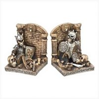 3919800: Medieval Deadly Skeletal Knight Bookends - 2 pc Set