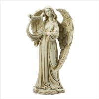 3650300: Angel with Harp Statue - Religious Decor