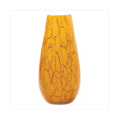 3939900: Amber Opaque Glass Patterned Vase