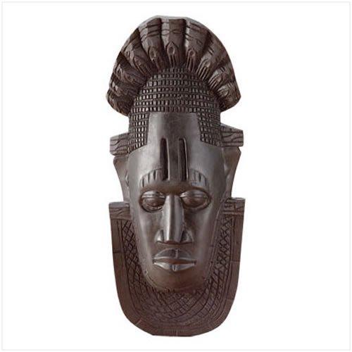 3329500: Ebony Finish African Mask Wall Plaque