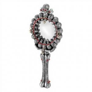 1253000: Wicked Skull Hand Mirror with Bone Shaped Handle