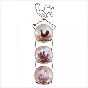 3118500: Decorative Rooster Plates And Rack - 4 Pc Set