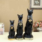 "12"" Matte Black Egyptian Ancient Style Cat Goddess Bastet Statue Medium Size"