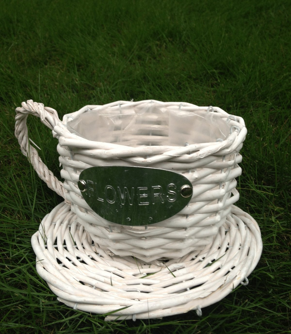 Handmade Wicker Coffee Cup Shaped Basket or Planter for Indoor Use(color White)