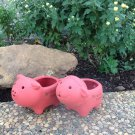 Set of 2 Adorable Terra Cotta Sheep and Pig Shaped Mini Planters for Indoor or Outdoor Use