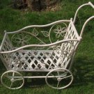 Newly Designed Antique White Carriage Shaped Plant Stand for Indoor or Outdoor Use