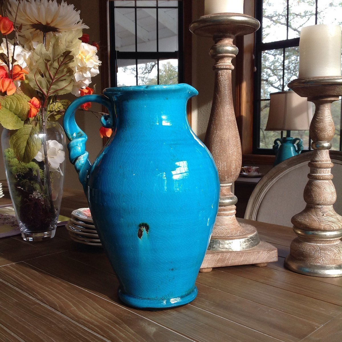 Vintage Old World Hand Thrown Water Jug with Twisted Handle
