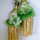 Vintage Pair French Tassel Tiebacks Pompoms 70'a Gold Green Velvet Flower Beads