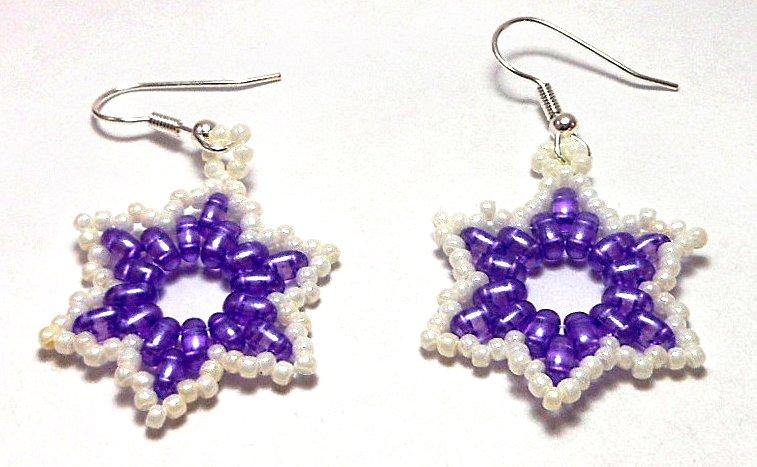 Hand Made Purple Star Shaped Women's Earrings (E03225)