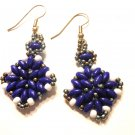 "Hand Made Blue Women's ""Corundum"" Earrings (E00725)"