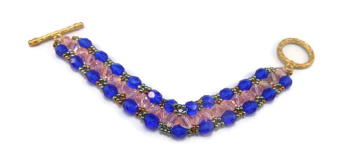 Hand Made Yellow And Blue Women's Crystal Bracelet (B03940)