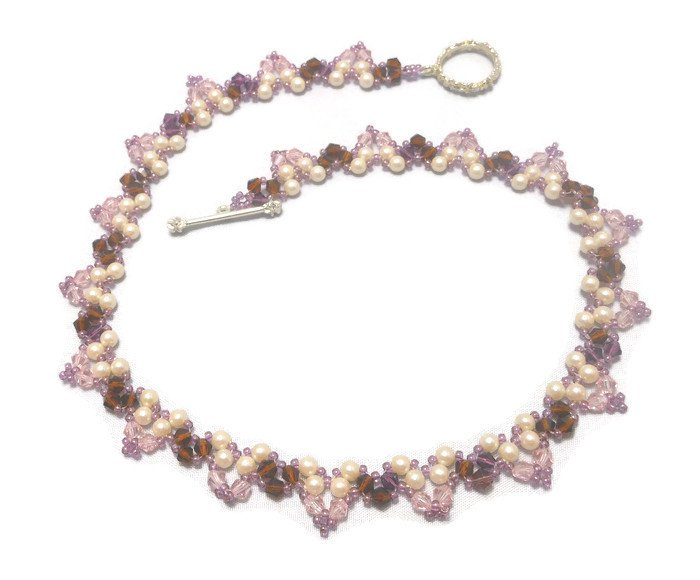 Hand Made Pearl & Crystal Bicone Women's Necklace (N00160)