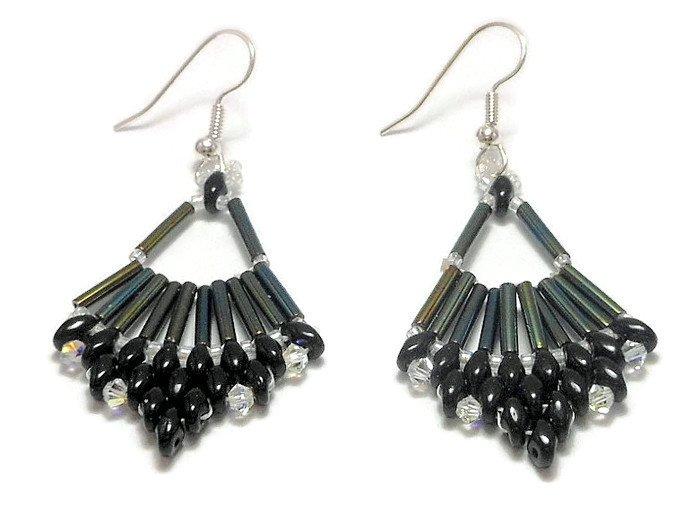Hand Made Women's Black Beaded (Flabellum) Earrings (E00330)