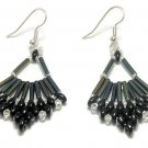 Hand Made Women's Black Beaded (Flabellum) Earrings (E00330)