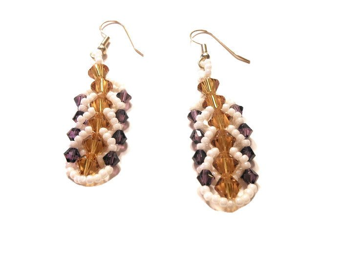 Hand Made Topaz And Amethyst Women's Crystal Earrings (E00227)