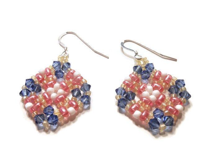 Hand Made Blue And Orange Women's Beaded Earrings (E00426)