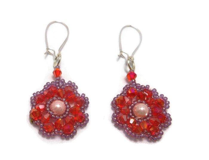 Hand Made Women's Red Crystal Beaded Flower Earrings (E04726)