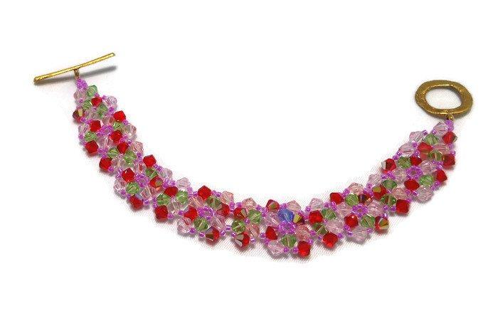 Hand Made Multi-Colored Crystal  Bracelet (B03448)