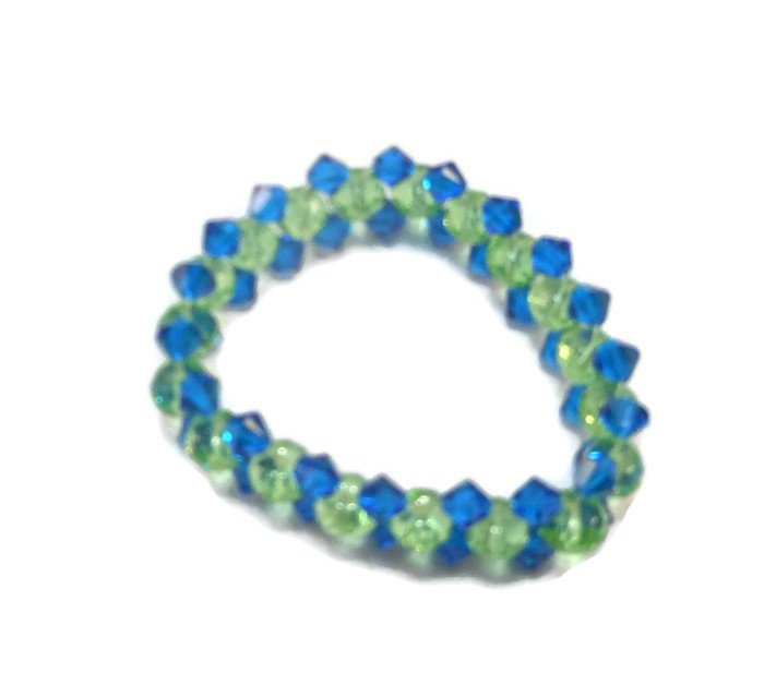Hand Made Blue And Green Women's Stretch Bracelet (B00629)