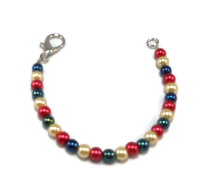 Hand Made Red, White And Blue Americana Bracelet (B00118)