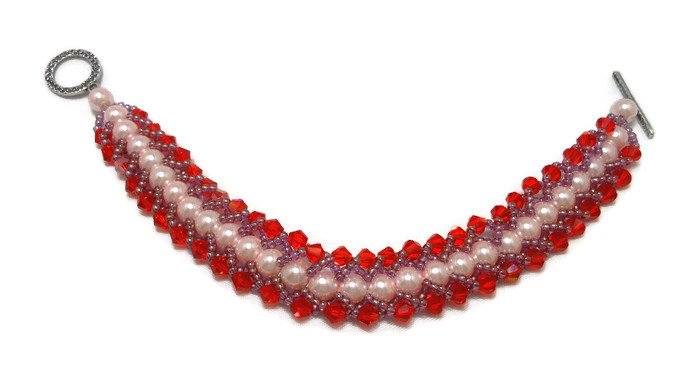 """Hand Made Red Crystal  & White Glass Pearl :""""Caterpillar"""" Bracelet (B04833)"""